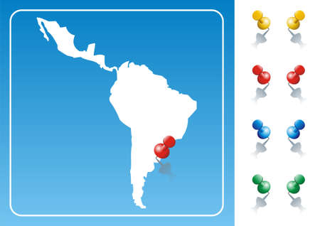 Latin America map illustration with pushpin. Vector image available.
