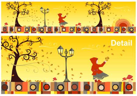 autumn leaf frame: Chica con una capucha roja en un d�a ventoso de oto�o. Vector disponible