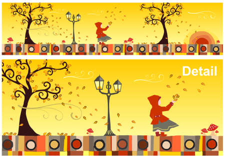 windy day: Girl with a red hood in a windy autumn day. Vector available