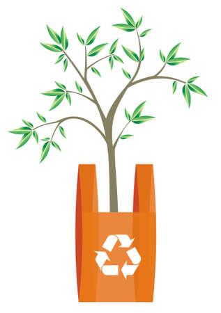 residuos organicos: Ilustraci�n de reciclaje s�mbolo de flechas en una bolsa con un �rbol dentro. Met�fora de la importancia del reciclaje de pl�sticos actitude