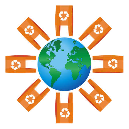 összpontosított: World icon focused on The Americas rounded for lots of shopping plastic bags with the recycling symbol