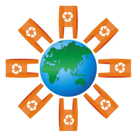 World icon focused on Europe and Asia rounded for lots of shopping plastic bags with the recycling symbol Vector