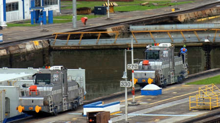 PANAMA � SEPTEMBER 10. Man dirives a Tug locomotive at Miraflores Locks on September 10, 2006 in Panama Canal. Six new locks will be constructed by 2015 on the Panama Canal.