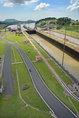 PANAMA � SEPTEMBER 10. Miraflores locks activity on September 10, 2006 in Panama Canal. Located at the narrowest point between the Atlantic and Pacific oceans, Panama Canal has had a far-reaching effect on world economic development