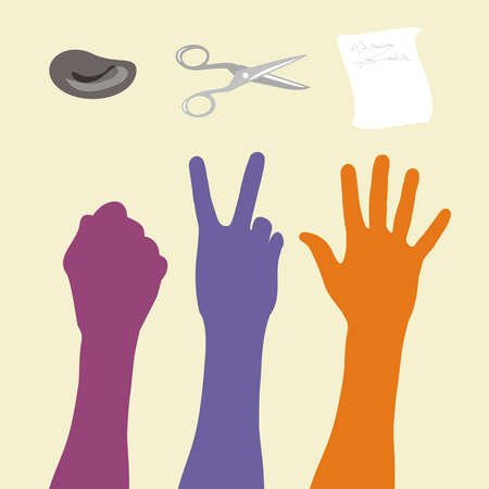 illustration rock paper scissors game, hand sign. Vector