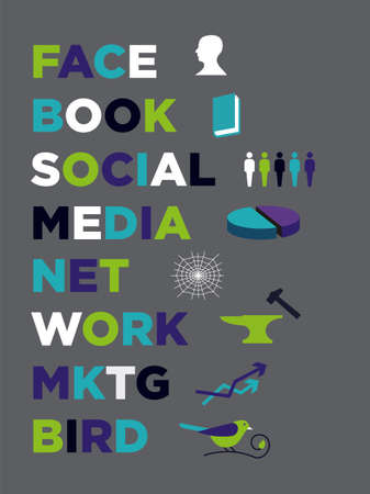 social media marketing icons composition. Vector