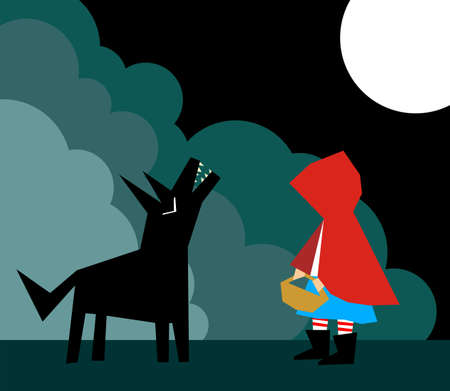 Little Red Riding Hood and the Wolf in the forest Vector