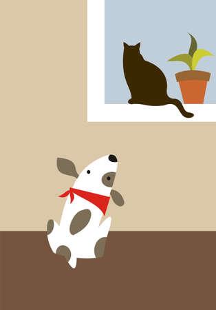 welpe: Der Hund schaut die Katze im Fenster