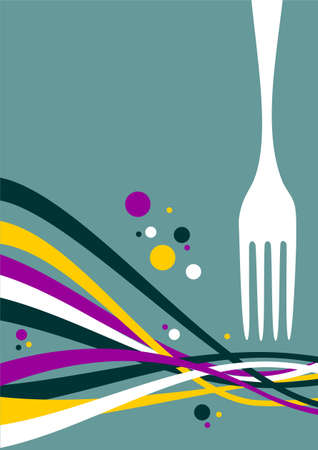 spoon and fork: Fork with multicolored waves on light blue background. Food, restaurant, menu design with cutlery and waves background. Vector available Illustration