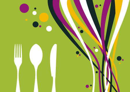 old fashioned menu: Spoon, fork, knife and multicolored waves on lime background. Food, restaurant, menu design with cutlery and bubbles silhouettes. Vector available