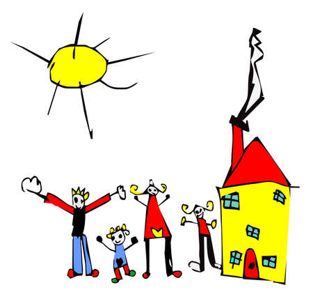 Child hand drawn illustration of a typical happy family of four and their house. Vector