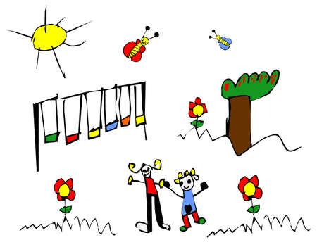 Child hand drawn illustration of children spring time outdoors activities. Vector