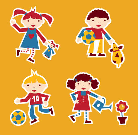 Cute modern style illustration of children playing with their favourite toy Stock Vector - 9912435