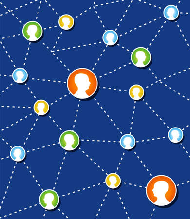 relations: Web social relationship diagram showing human head silhouettes connected by colorful circles. Illustration