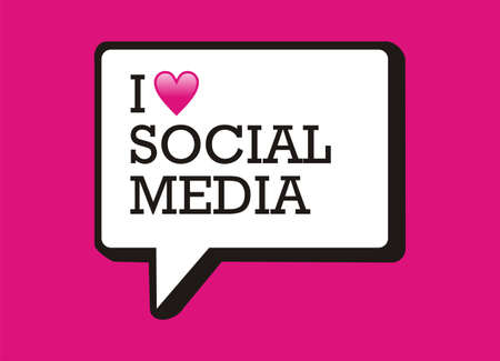 media icons: I love social media bubble and heart illustration. Illustration