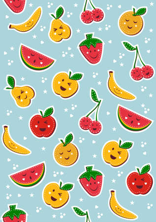 Happy fruits pattern. Vector illustration background. Stock Vector - 9912440
