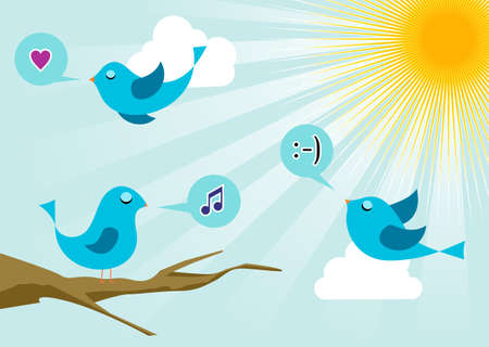 chirp: Twitter birds morning communication. Social media network connection concept
