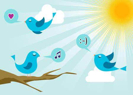 twitter: Twitter birds morning communication. Social media network connection concept