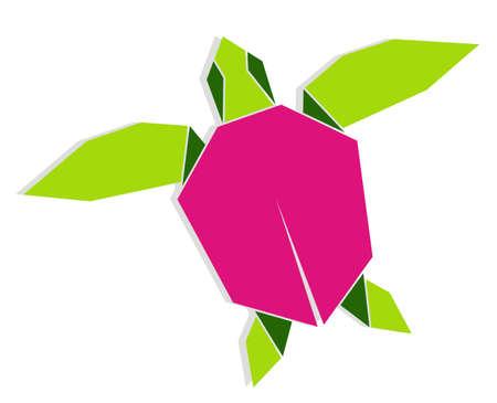 green sea turtle: Single multicolored origami turtle illustration. Vector file also available.