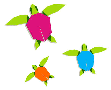 swimming in the sea: Group of multicolored origami turtle. Vector file also available.