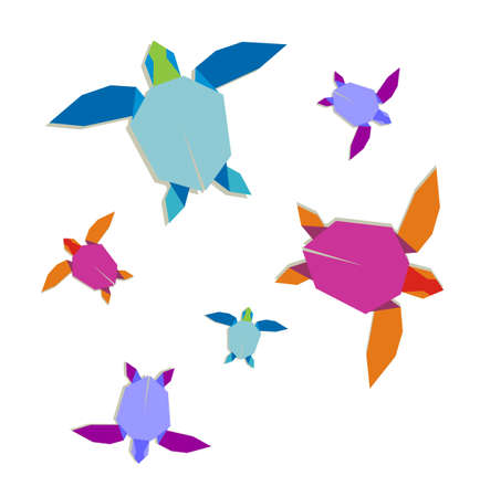 Group of multicolored origami turtle. Vector file also available. Stock Vector - 9912430