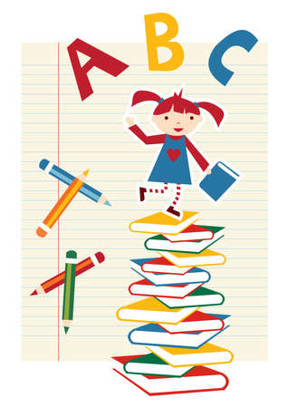 Back to school funny multicolored background. Stock Vector - 9912451