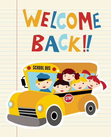 Welcome Back to school bus with children background. Hand drawn text. Vector