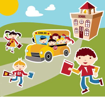 autobus escolar: A antecedentes de ilustraci�n del concepto de escolares. Composici�n de fachada de bus, los ni�os y la escuela.