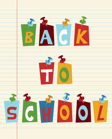 Back to school funny multicolored text with pushpins. Vector