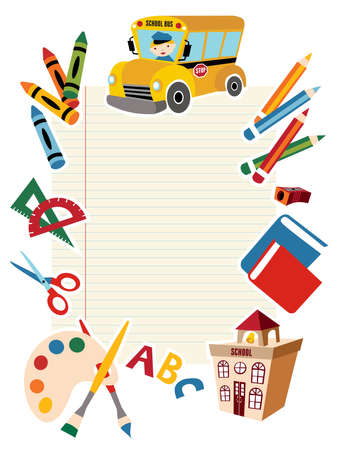 pencil sharpener: Set of vector School tools and Supplies background.