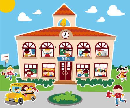 Tijd om terug te gaan school vector illustratie achtergrond. Bus, kinderen en school gevel samenstelling.