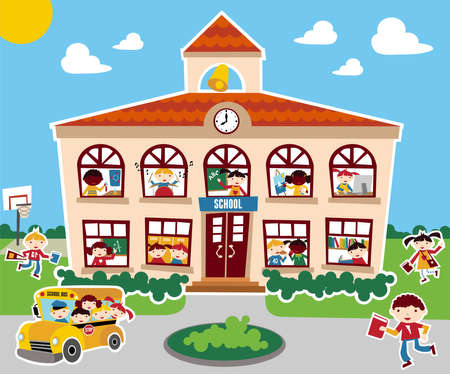 school friends: Time to go back school vector illustration background. Bus, children and school facade composition. Illustration