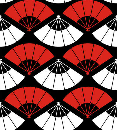 Japan fan abstract background in red, white and black. Vector file also available. Vector