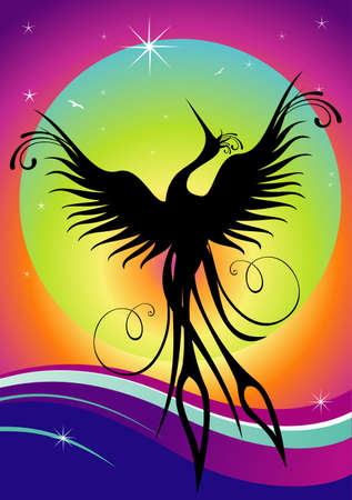 re: Black phoenix bird figure over multicolored background. Re-birth concept.