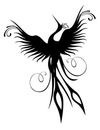Black phoenix bird figure isolated over white. Re-birth concept. Vector