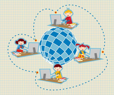 improve: Children uses school social network to learn and teach class lessons. Illustration