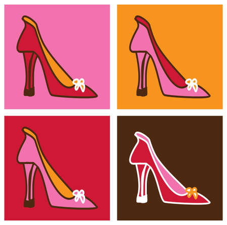 Retro pop pink stilettos background illustration. Four frames composition in differents colors.   Vector
