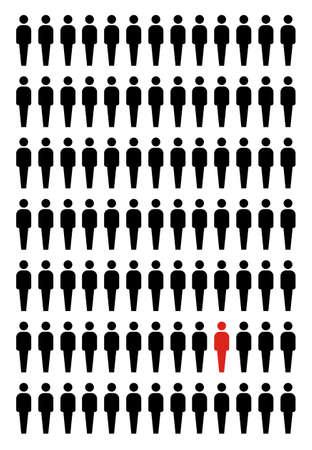 etre diff�rent: Soyez illustration concept unique. L'un choisi dans un groupe de rouge.