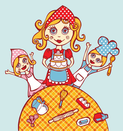 Mother and children sharing the art of cooking at home. Vector
