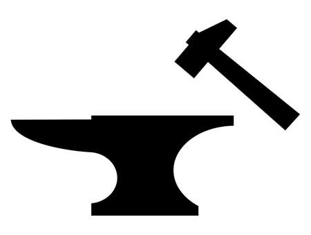 forging: Anvil and mallet black silhouette illustration over white background. Illustration