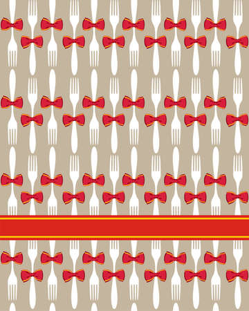 Seamless Christmas fork and bow pattern over beige background. Vector