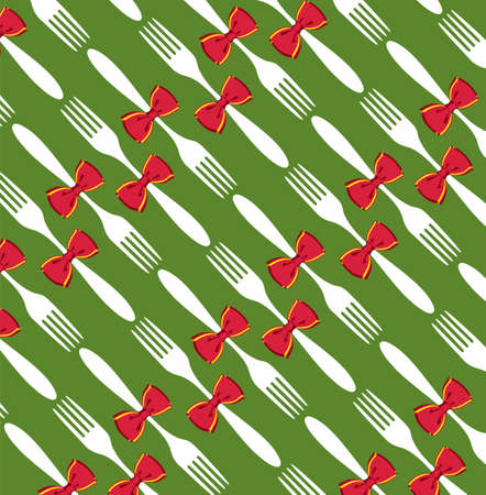 Seamless Christmas fork and bow pattern over green background. Vector