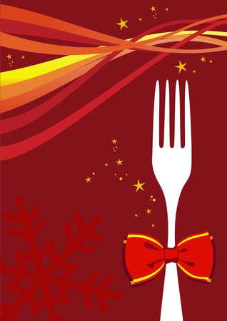 comida de navidad: Fondo de diseño de menú cubiertos para temporada de Navidad. Horquilla con un arco y olas multicolores sobre diseño rojo.