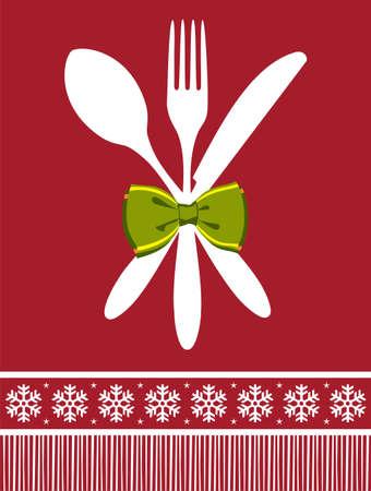 Besteck Menü-Design Hintergrund für Weihnachtszeit. Gabel, Löffel und Messer mit einem Bogen auf rotem Hintergrund.