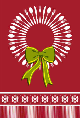 christmas dinner party: Cutlery menu design background for Christmas season. Fork, spoon and knife forming a wreath with a bow over red background.