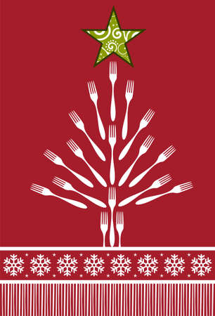 christmas dinner party: Christmas Tree Cutlery background. Forks forming a tree with a shiny green star on top over red background. Illustration
