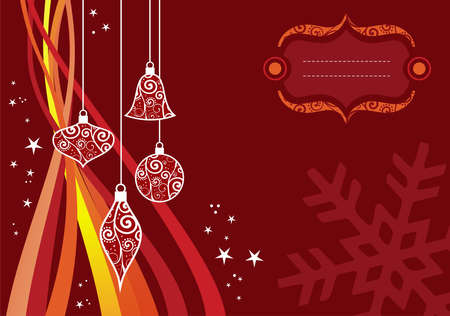 balls decorated: Christmas season illustration with stars, balls and waves over red background. Illustration