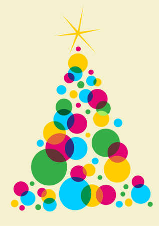 Cyan, magenta and yellow bubbles forming a Christmas tree with a shiny white star on top. Green background.  Vector