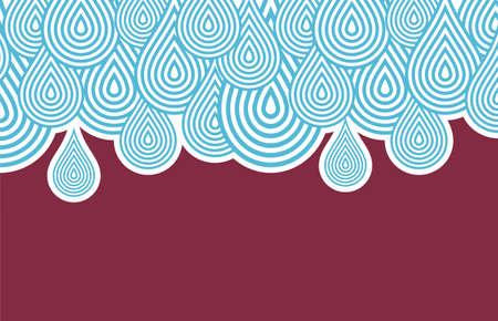 bordeaux: Background pattern with blue rain drops. Illustration