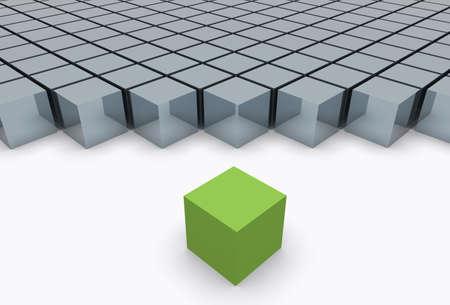 Out of the concetto illustrazione folla. La scelta in verde da un gruppo.